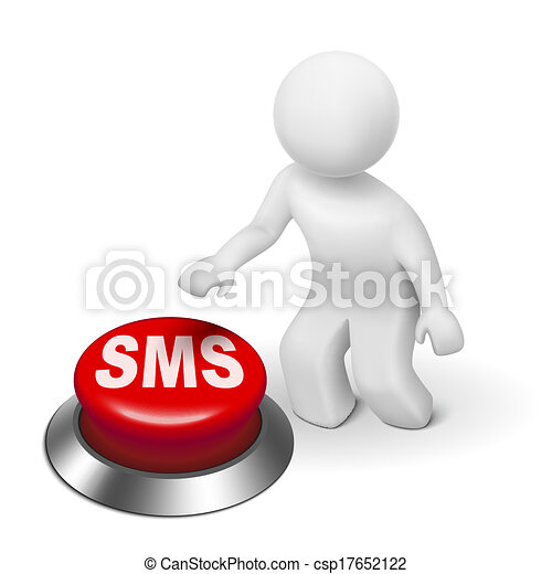 court, service, ), (, bouton, message sms, homme, 3d - csp17652122