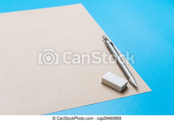 crayon, note, salle, lotissements, texte, image, ton, caoutchouc, bois, livre, bureau, blanc, ou, régulier - csp29460869