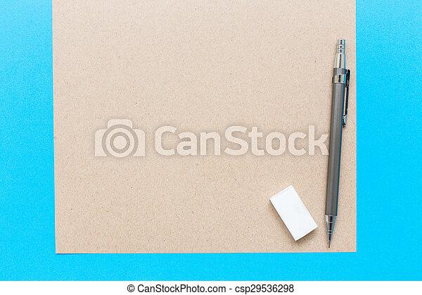 crayon, note, salle, lotissements, texte, image, ton, caoutchouc, bois, livre, bureau, blanc, ou, régulier - csp29536298