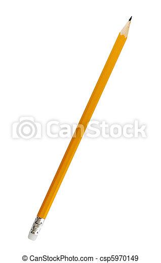 crayon, unique, fond blanc, jaune - csp5970149