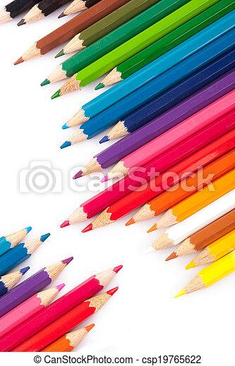 crayons, diagonal, coloré, rang - csp19765622