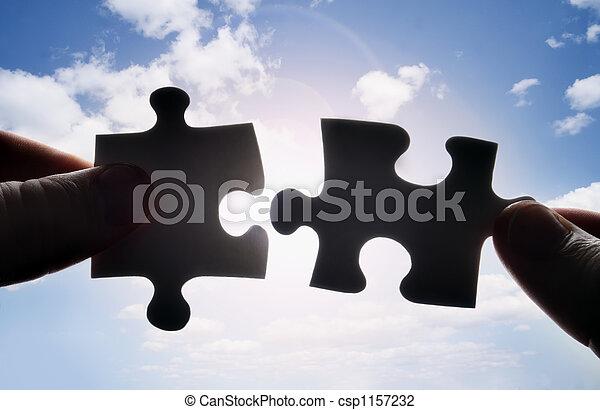 crise, puzzle, deux, ensemble, morceaux, mains, essayer - csp1157232