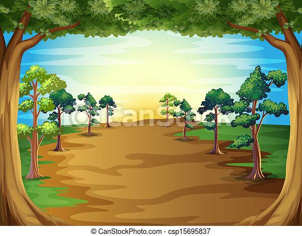croissant, forêt, arbres - csp15695837