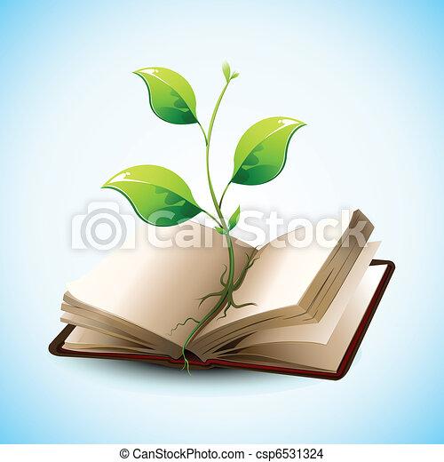 croissant, plante, livre, ouvert - csp6531324