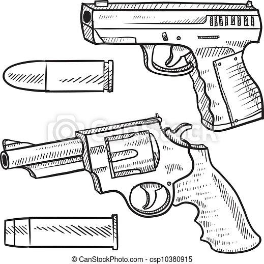 croquis, pistolet, pistolet, ou - csp10380915