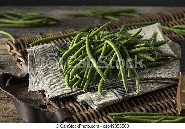 cru, organique, vert, haricots verts - csp49356500