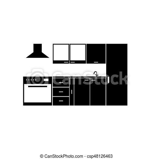 cuisine, élément, illustration, meubles - csp48126463