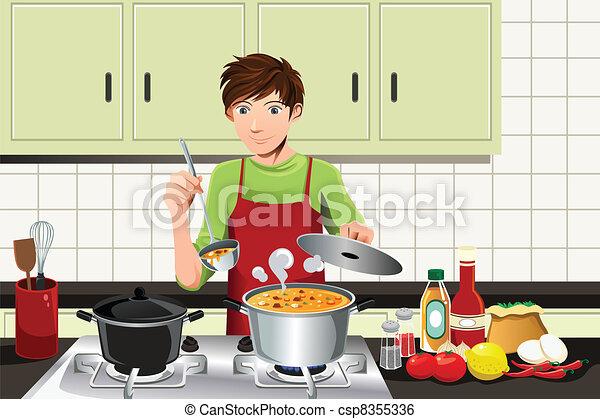 cuisine, homme - csp8355336