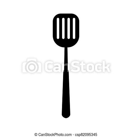 cuisine, icône, outillage, isolé, illustration, vecteur, noir, cuisine, spatule - csp82095345