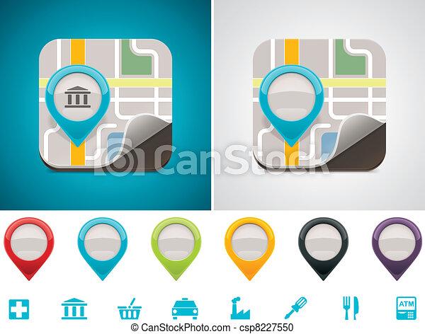 customizable, carte, emplacement, icône - csp8227550