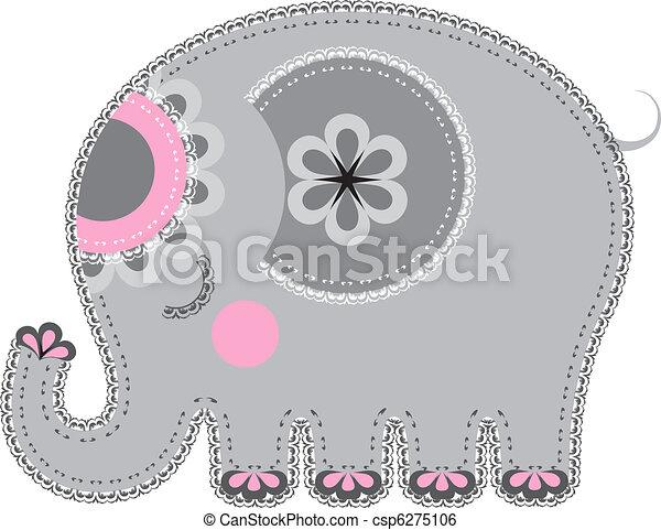 cutout., tissu, animal, éléphant - csp6275106