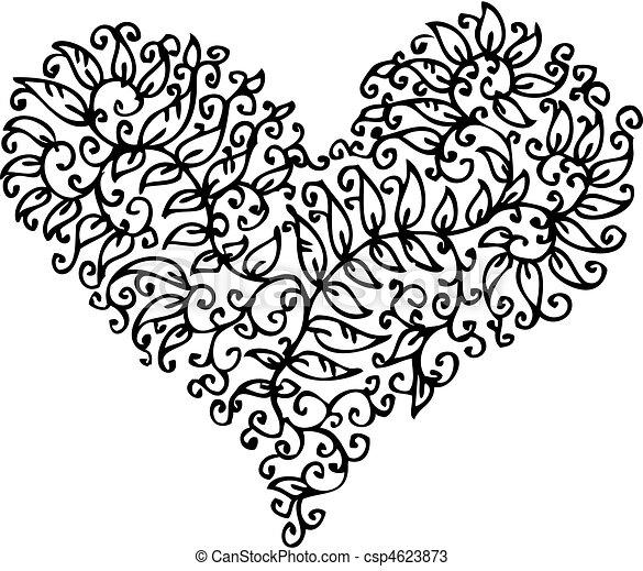 cxxxv, coeur, romantique, vignette - csp4623873