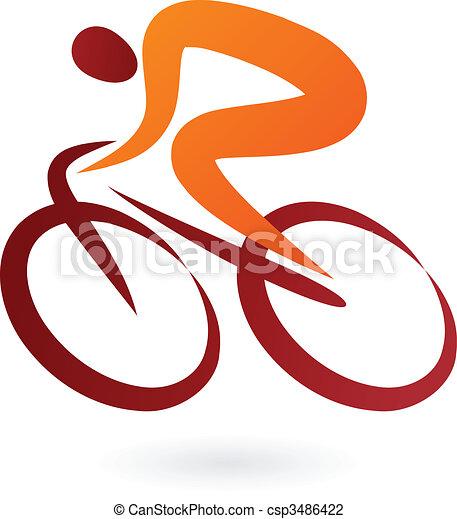 cycliste, vecteur, -, illustration, icône - csp3486422