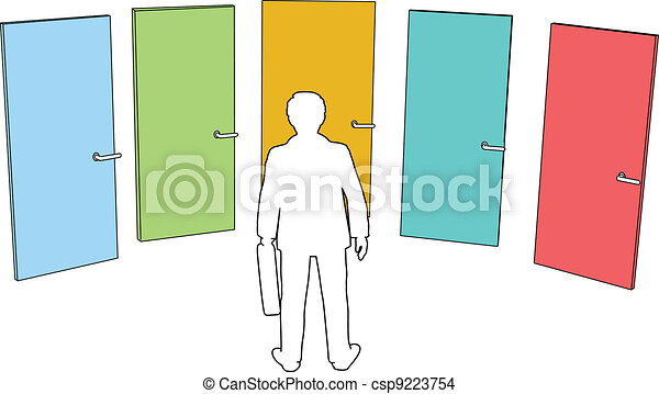 décision économique, choix, personne, choisir, portes - csp9223754