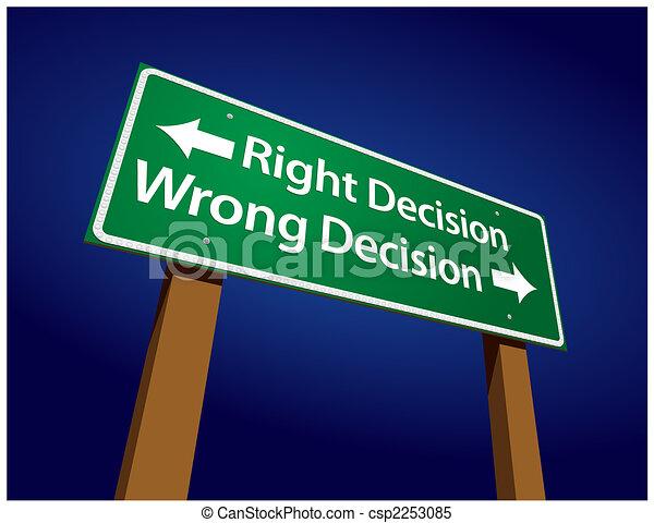 décision, décision, illustration, signe, mal, droit, vert, route - csp2253085