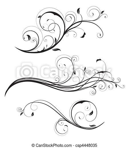 décoratif, éléments floraux - csp4448035