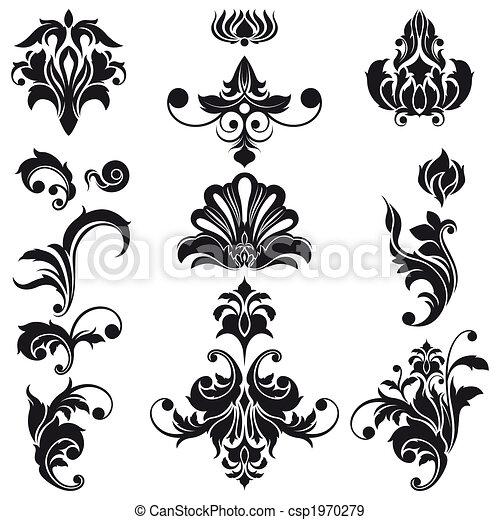 décoratif, éléments floraux, conception - csp1970279