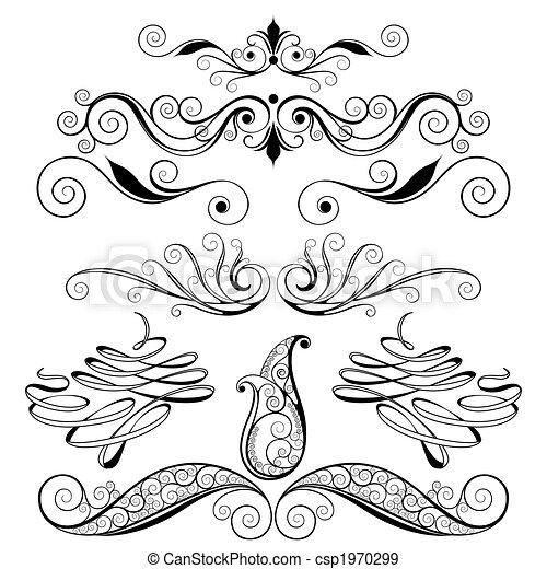 décoratif, éléments floraux, conception - csp1970299