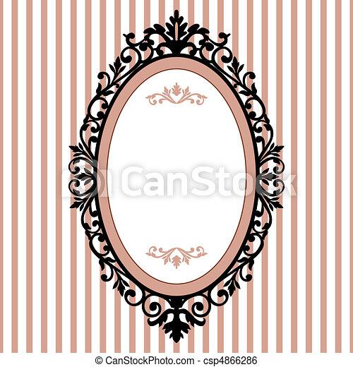 décoratif, armature ovale, vendange - csp4866286