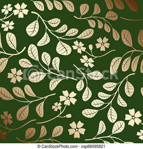 décoratif, branches, or, gradient, modèle, -, vecteur, arrière-plan vert - csp66095821