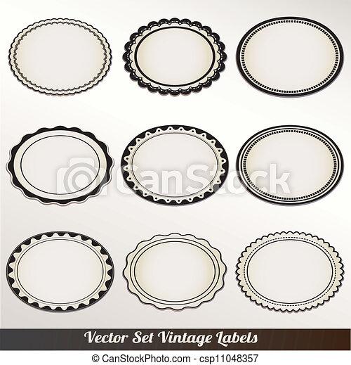 décoratif, cadre, vecteur, ensemble, vendange - csp11048357
