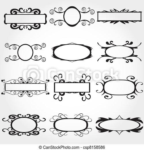 décoratif, cadre, vecteur, ensemble, vendange - csp8158586