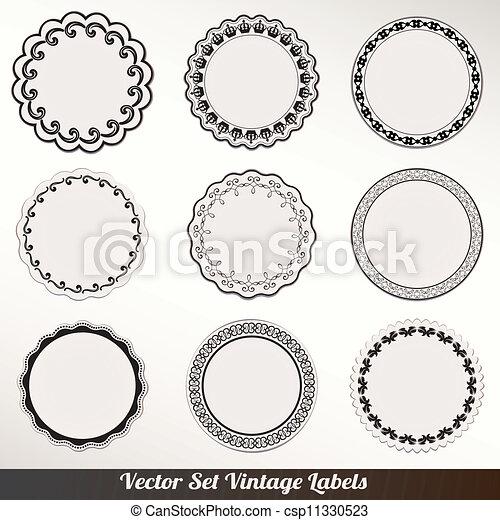 décoratif, cadre, vecteur, ensemble, vendange - csp11330523