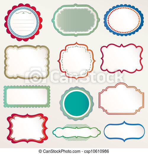 décoratif, cadre, vecteur, ensemble, vendange - csp10610986