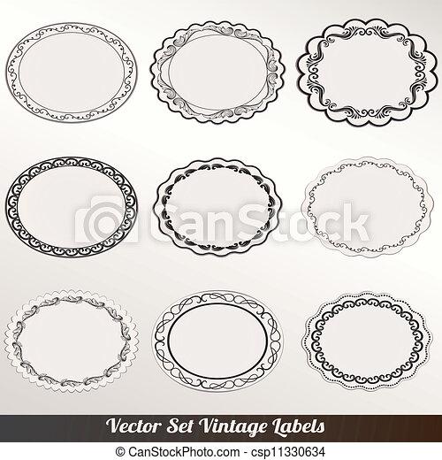décoratif, cadre, vecteur, ensemble, vendange - csp11330634