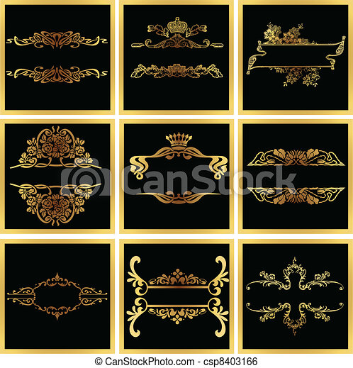 décoratif, doré, vecteur, orné, cadres, quad - csp8403166