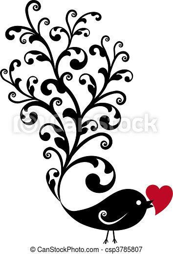 décoratif, oiseau, coeur rouge - csp3785807