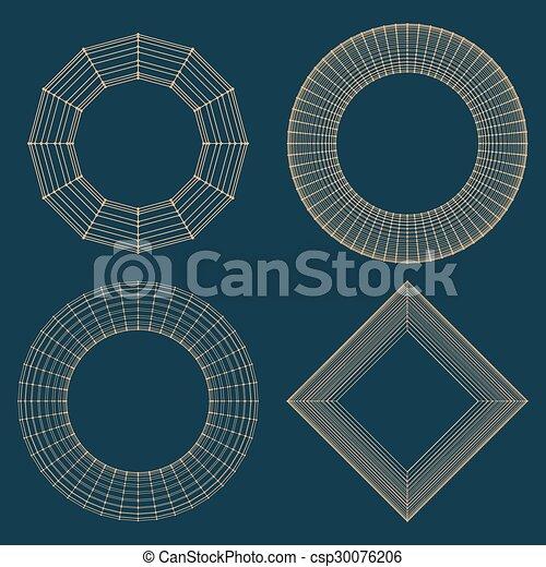 décoratif, vecteur, lattice., frame., poligonal., résumé, maille, grille, polygons., moléculaire, structural - csp30076206