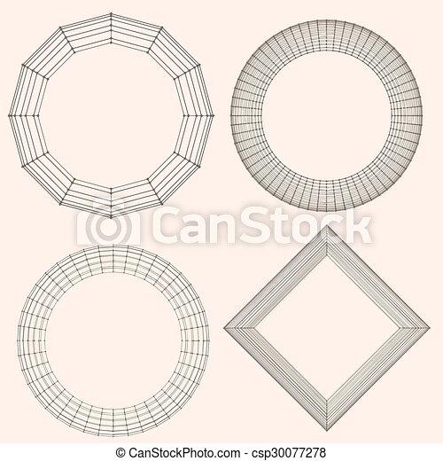 décoratif, vecteur, lattice., frame., poligonal., résumé, maille, grille, polygons., moléculaire, structural - csp30077278