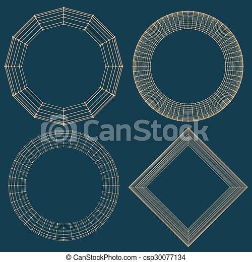 décoratif, vecteur, lattice., frame., poligonal., résumé, maille, grille, polygons., moléculaire, structural - csp30077134