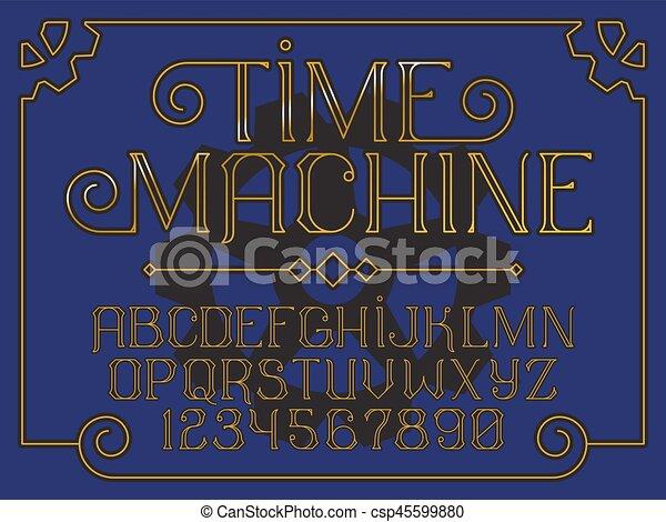 décoratif, vendange, machine, police, temps - csp45599880