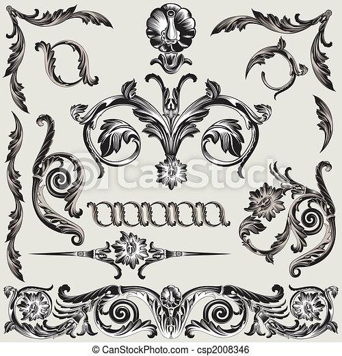 décoration, floral, ensemble, éléments, classique - csp2008346