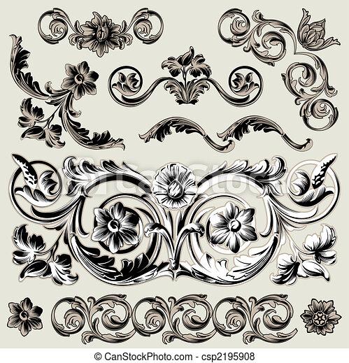 décoration, floral, ensemble, éléments, classique - csp2195908