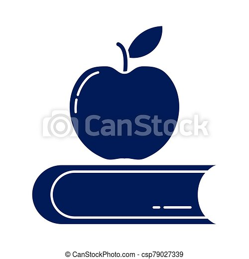 délicieux, pomme, style, livre, icône, fermé, silhouette - csp79027339