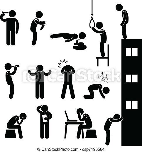 déprimer, suicide, gens, triste, tuer, homme - csp7196564