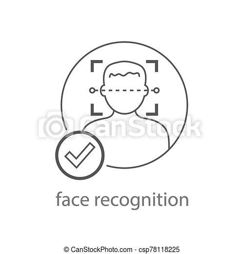 détection, eps, homme, reconnaissance, illustration., faces, logo., 10, vector., identification, symbole., balayage, figure, facial, icône - csp78118225