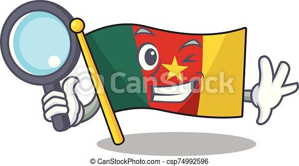 détective, camerounais, caractère, sourire, drapeau, dessin animé - csp74992596