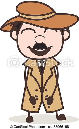 détective, illustration, figure, vecteur, bouche, sourire, ouvert, dessin animé - csp58966198
