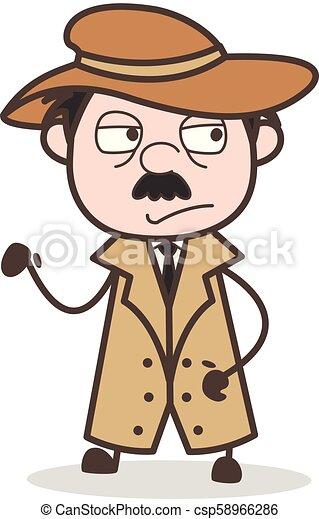 détective, illustration, triste, vecteur, expression faciale, dessin animé - csp58966286
