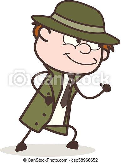 détective, intelligent, illustration, courant, vecteur, sourire, dessin animé - csp58966652