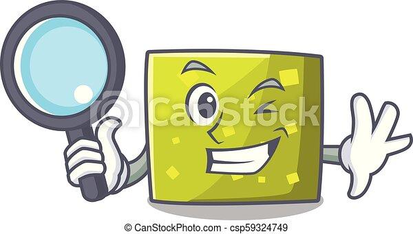 détective, style, carrée, caractère, dessin animé - csp59324749