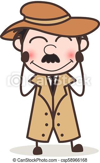 détective, timide, figure, vecteur, sourire, expression, dessin animé - csp58966168