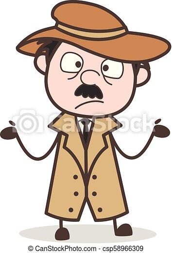 détective, vecteur, caractère, dessin animé, surpris - csp58966309