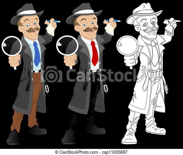 détective, vecteur, caractère, dessin animé - csp11635697