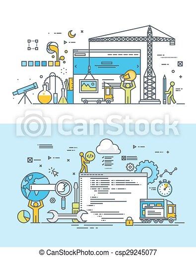 développement, plat, concepts, toile - csp29245077