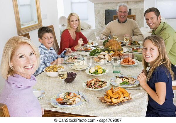 dîner, tout ensemble, noël famille - csp1709807